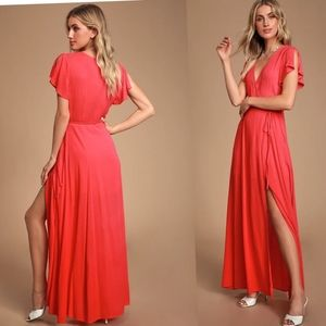Lulu's Long Maxi Wrap Coral Red Small